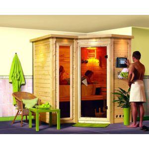 karibu sauna traditionnel sahib 1 2 avec couronne 40 mm 221 x 198 x 212 cm pas cher achat. Black Bedroom Furniture Sets. Home Design Ideas