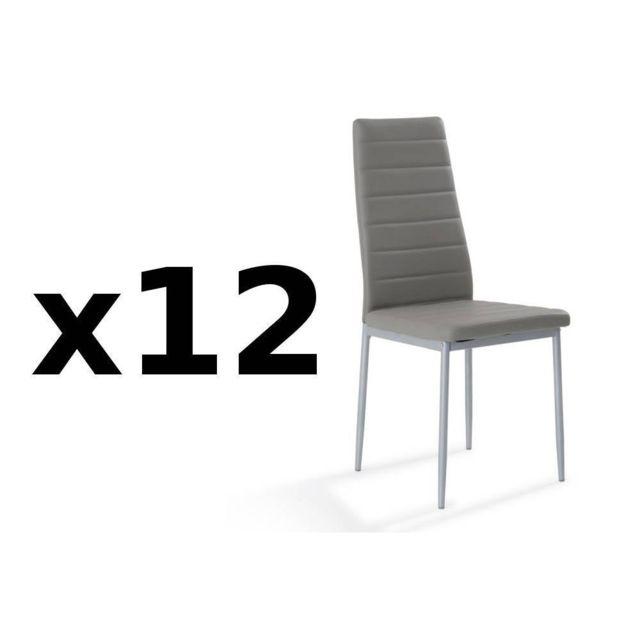 Inside 75 Lot de 12 chaises design Scylla en tissu enduit polyuréthane simili façon cuir gris
