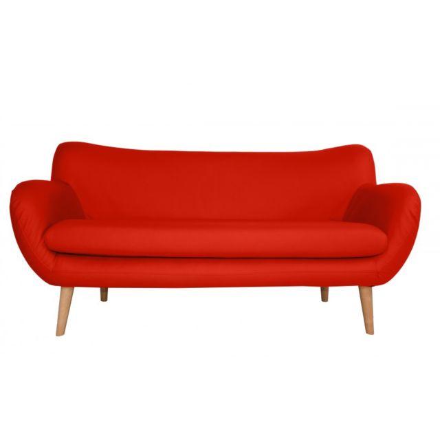 Rocambolesk Canapé Adele 3 Pu soft 10 rouge avec pieds naturels sofa divan