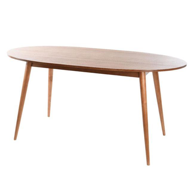 Kaligrafik Table à manger ovale avec pieds scandinave en bois Bouleau Longueur 160cm