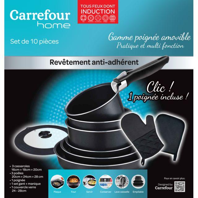 CARREFOUR HOME - Batterie de cuisine - 10 pièces - Aluminium - Noir