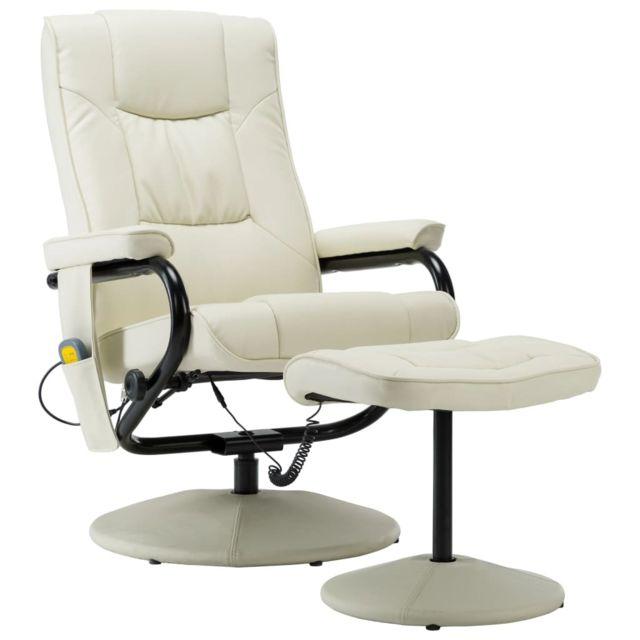 Icaverne Fauteuils électriques selection Fauteuil de massage avec repose pied Crème Similicuir