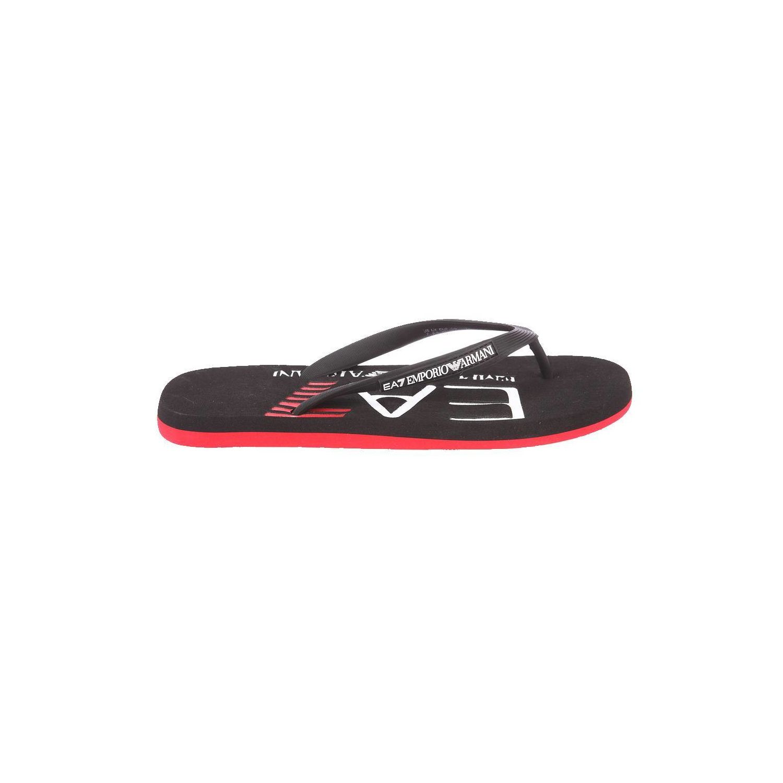 pretty nice 46217 08720 ARMANI- Tongs Ea7 noires et rouges logotypées