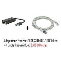 Cabling - adaptateur Usb mâle vers connecteur Rj45 v3 Gigabit + Cable ethernet Rj45 Cat6 3 mètres