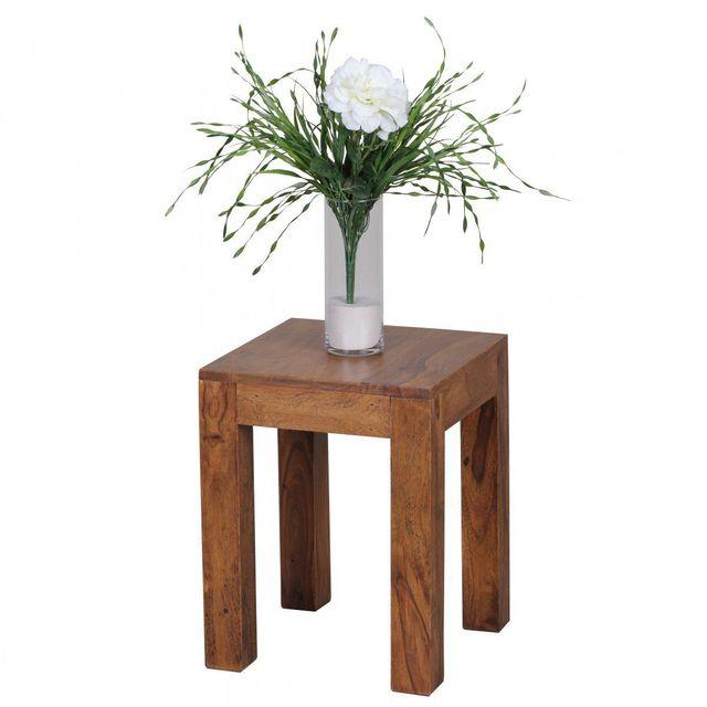 COMFORIUM Table d'appoint carrée 35x35cm en bois massif sheesham