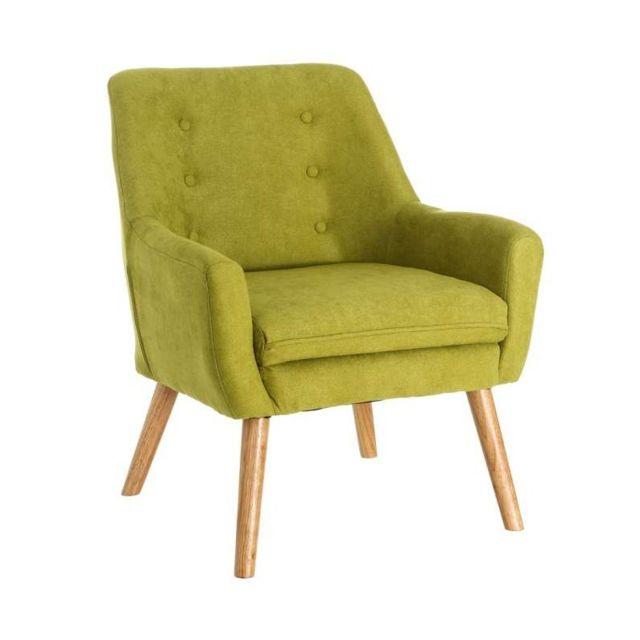 Ma Maison Mes Tendances Fauteuil en tissu vert pieds bois Julien - L 81.5 x l 67 x H 70