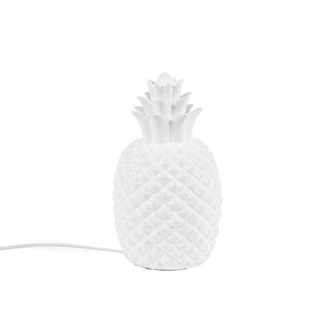 Lumineo - Lampe à poser ananas en porcelaine hauteur 30cm Blanc Lain 0cm x 0cm x 0cm