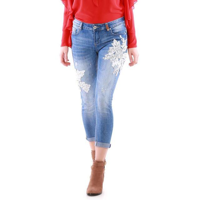 avec 78 strass Achat Jeans pas Lamodeuse amp; bleu cher dentelle gfqtxRxBn