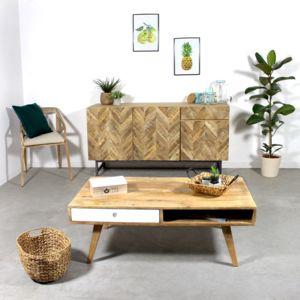 Made in meubles table basse bois massif artiq scandinave for Meuble tv et table basse scandinave