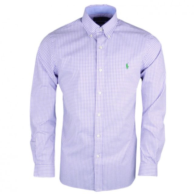 f7b14fe916384 Ralph Lauren - Chemise Ralph Lauren vichy violet et blanc logo vert slim fit  pour homme. Couleur   Rouge