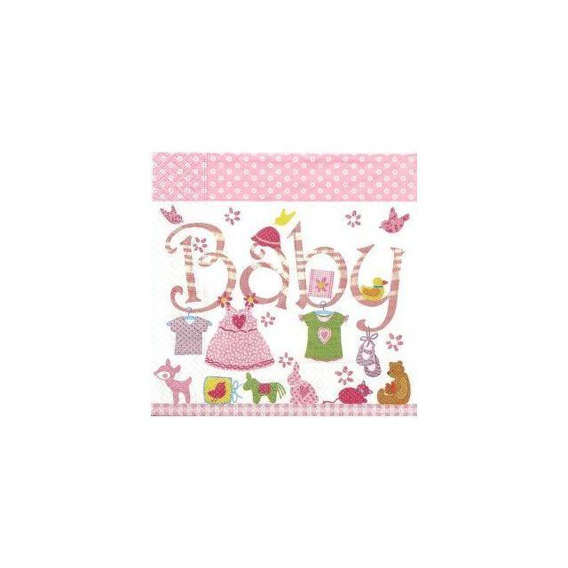 Novastyl Lot de 40 serviettes papier Baby Pink