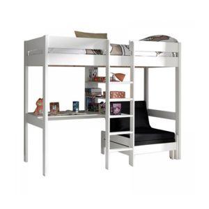 vipack pino lit mezzanine blanc avec fauteuil marron 90cm x 200cm pas cher achat vente. Black Bedroom Furniture Sets. Home Design Ideas