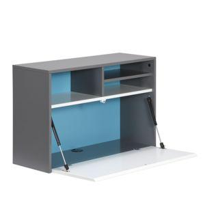 alin a steam bureau mural avec rangements gris et bleu r versible blanc pas cher achat. Black Bedroom Furniture Sets. Home Design Ideas