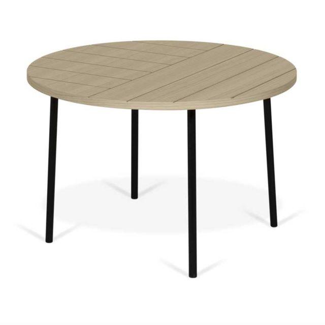 Tousmesmeubles Table basse ronde motifs géométriques Chêne clair/Métal noir - Idylic n°1