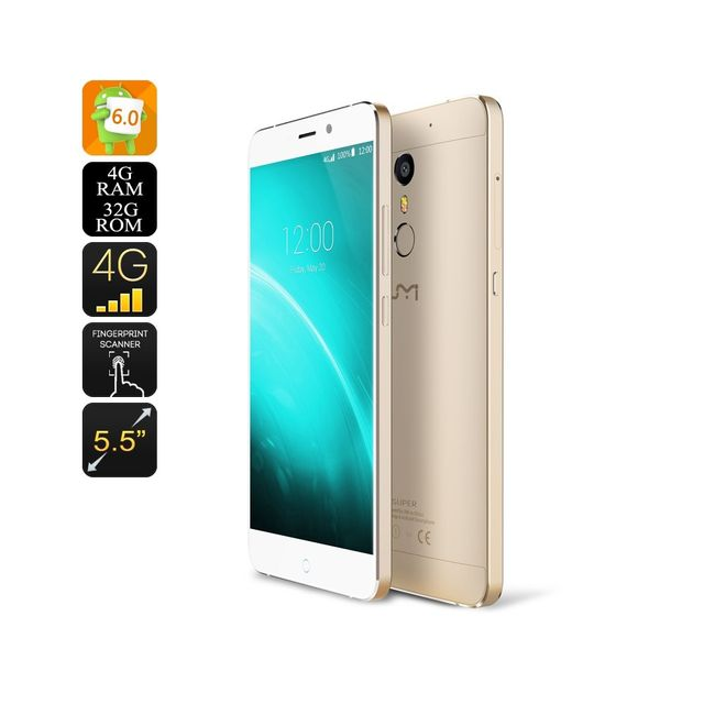 Auto-hightech Téléphone Smartphone 64 Bit Octa Core Cpu, 4GB Ram, 4G Double Sim, Android 6.0, 256GB Sd Slot GOLD