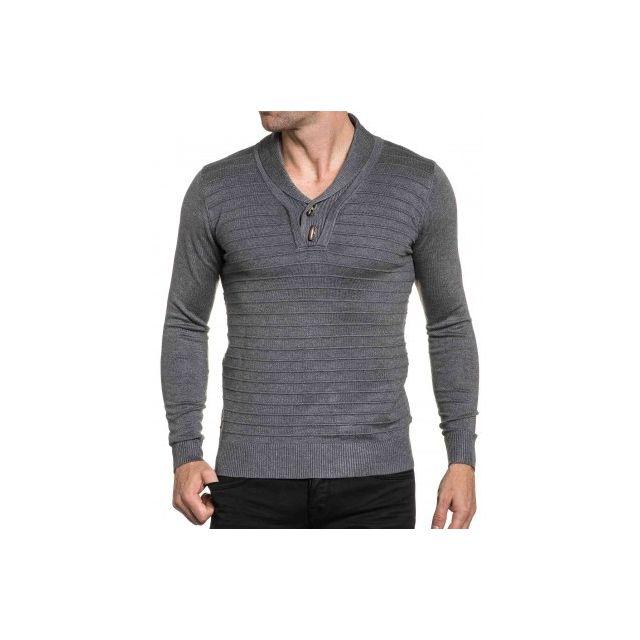 e4535976ae7c0 BLZ Jeans - Pull chic gris nervuré et col à boutons bois - pas cher ...