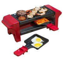 BESTRON - Raclette gril avec 2 poêlons - 350W - en rouge