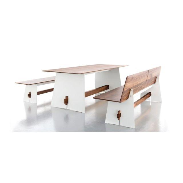 Conmoto Table Tension Wood - blanc avec bordures noires - Poutre en noyer