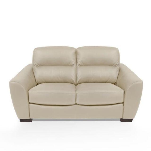 CANAPE - SOFA - DIVAN BARONE Canapé 2 places - Cuir et simili beige - L 165 x P 100 x H 92 cm