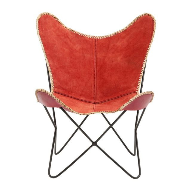 Karedesign Fauteuil Butterfly suède rouge Kare Design