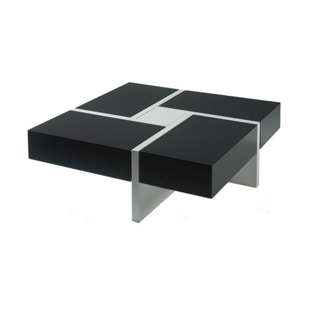 Tousmesmeubles Table basse carrée laque grise et blanche - Quadro