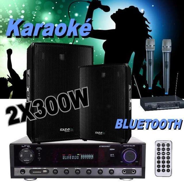 Ibiza Sound Pack karaoké avec 2 micros hf - 1 ampli - 2 enceintes 300w pa-dj power