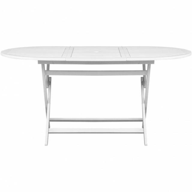 Maja+ - Table d\'extérieur en bois d\'acacia Ovale Blanche - pas cher ...
