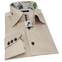 plus récent 3b157 08270 Chemise cintrée Homme Beige col 3 boutons avec boutons de maintiens sur les  côtés contrastée à fleurs vertes Bleues