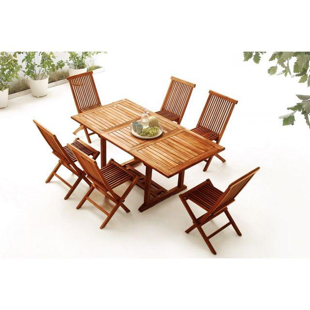 Bobochic - Table rectangle 6 chaises Teck huilé Marron - pas cher ...