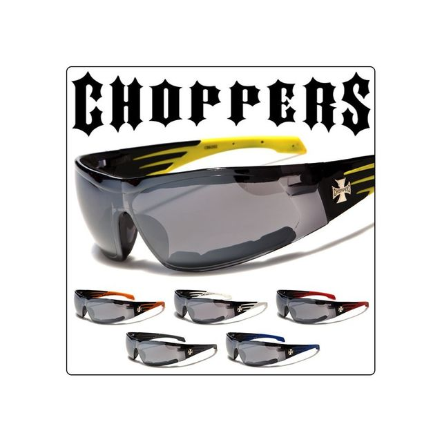 f333eba56e Universel - Lunette de soleil choppers strip jaune biker homme rock ...