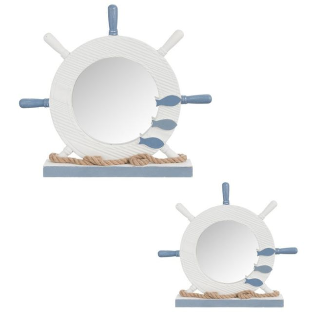 Tousmesmeubles Duo de miroirs gouvernails Bois blanc/bleu - Xypho