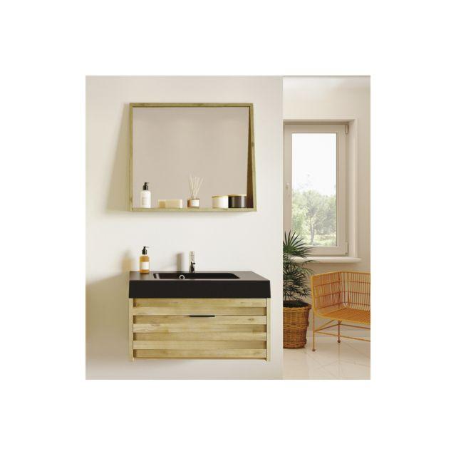 Meuble de salle de bain en bois massif et sa vasque noir mat - 80 CM - BENOA