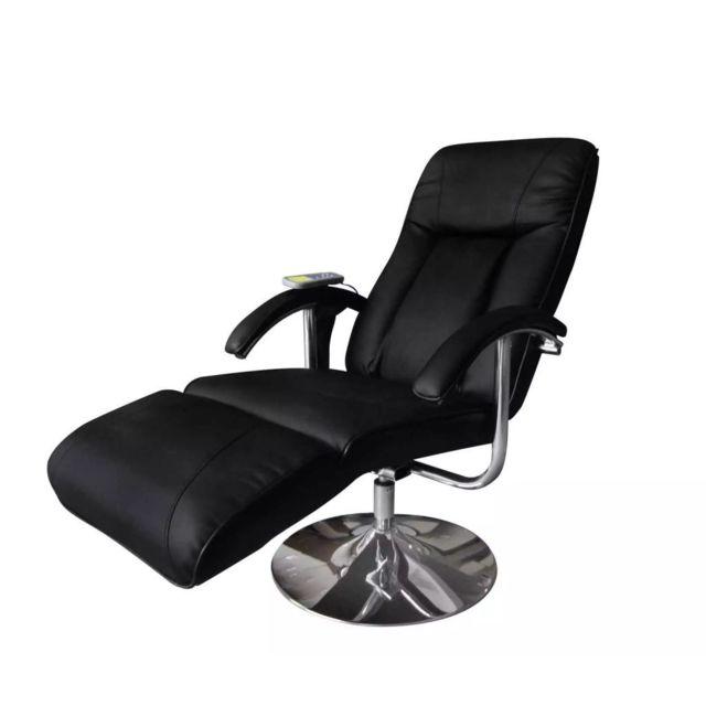 Superbe Fauteuils ensemble Nairobi Fauteuil de massage électrique Cuir artificiel Réglable Noir