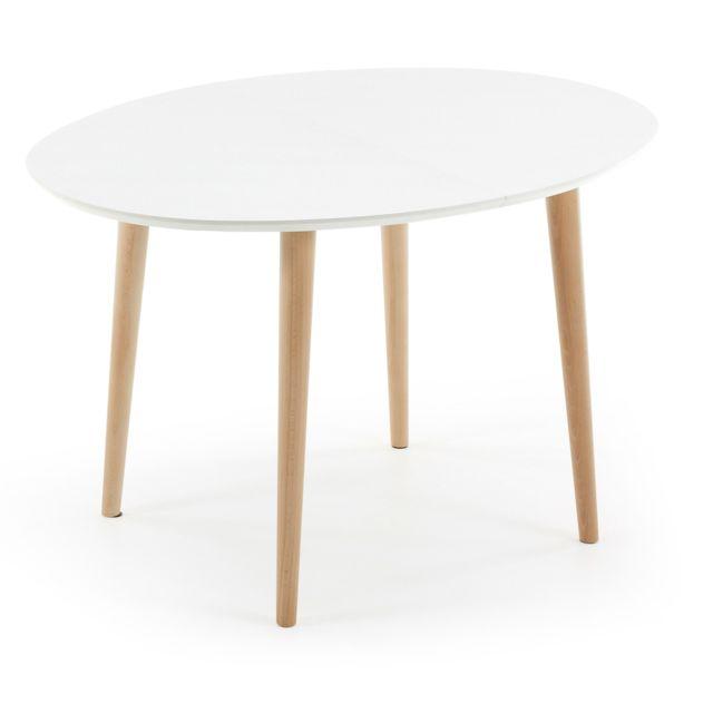 Kavehome - Table Oqui extensible ovale 120-200 cm, naturel et blanc Blanco, Natural - 128.5cm x 19cm x 98.5cm