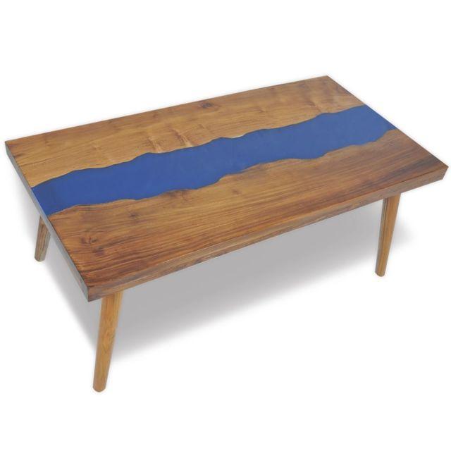 Vidaxl Teck Table Basse Résine 100x50x40 cm Table d'Appoint Meuble de Salon