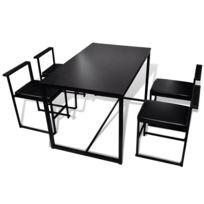 Icaverne - Ensembles de meubles de cuisine et de salle à manger reference  Ensemble de table et de chaises de salle à manger 5 pièces Noir
