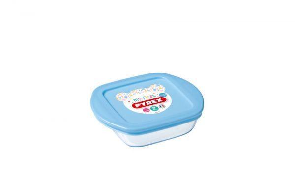 Pyrex Baby - Plat carré avec couvercle bleu 14x12 cm