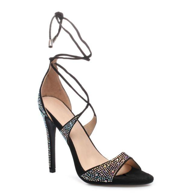 28a08f23fa27b4 Lamodeuse - Sandales noires à lacets avec strass - pas cher Achat ...