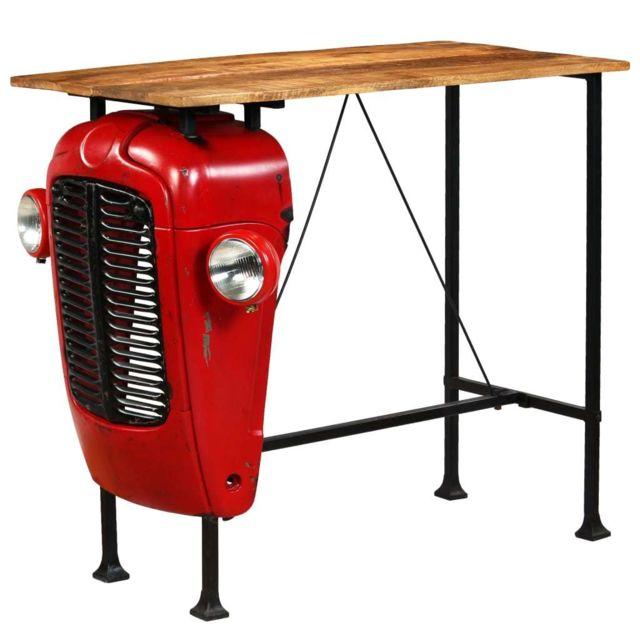 Vidaxl Table de Bar Bois de Manguier Rouge Tracteur Table de Salle à Manger