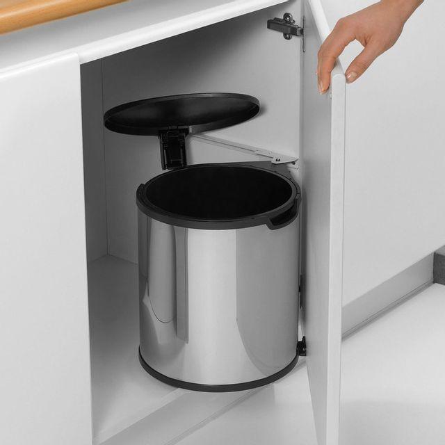 Brabantia Poubelle de porte à fixer avec seau intérieur 15 litres Built In - Brilliant Steel