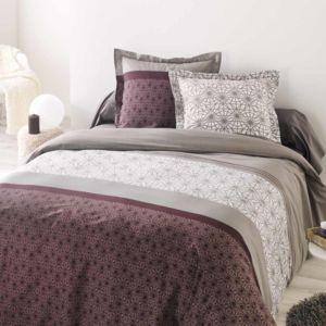 housse de couette taie veneto prune pas cher achat vente housses de couette rueducommerce. Black Bedroom Furniture Sets. Home Design Ideas