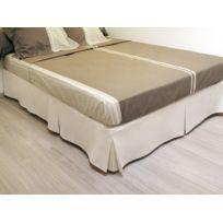 Bonareva - Cache sommier plateau 3 plis 140x190 cm beige