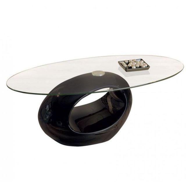 Inside 75 Table basse ovale Nigra en verre et piétement noir