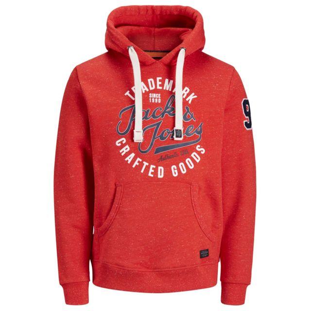 magasiner pour le meilleur magasiner pour le luxe prix bas Jack&JONES - Sweat de marque 12143350 rouge imprimé à ...