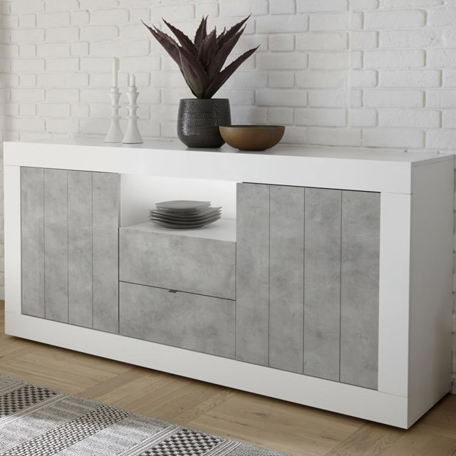 Sofamobili Enfilade 180 cm moderne effet béton et blanc Serena 5