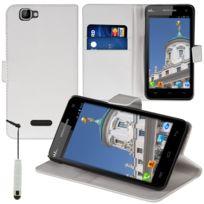 Vcomp - Housse Coque Etui portefeuille Support Video Livre rabat cuir Pu pour Wiko Rainbow + mini stylet - Blanc