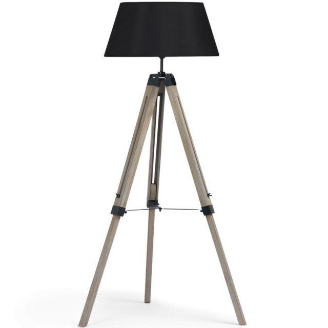 idmarket lampadaire trepied bois r glable noir pas. Black Bedroom Furniture Sets. Home Design Ideas