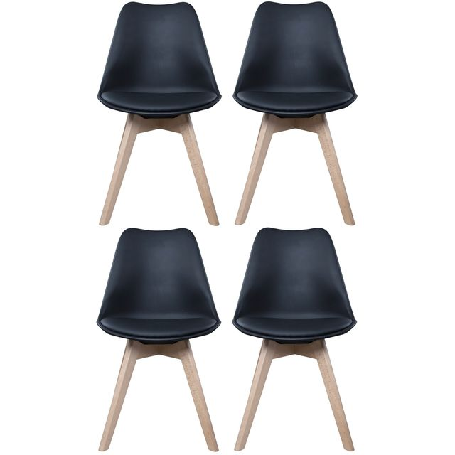 promobo ensemble lot de 4 chaise scandinave coque polypropyl ne avec coussin noir pas cher. Black Bedroom Furniture Sets. Home Design Ideas