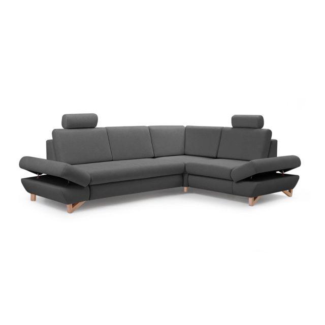BESTMOBILIER Imola - Canapé d'angle moderne - 5 places - Convertible avec coffre de rangement - Accoudoirs réglables - Droit Couleur