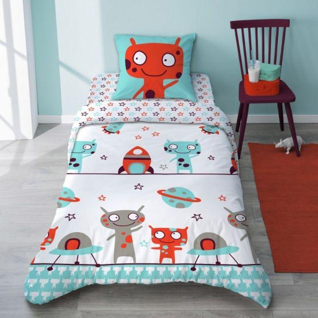 selene et gaia parure de lit motif extraterrestre bleu et orange r versible enfant en coton. Black Bedroom Furniture Sets. Home Design Ideas